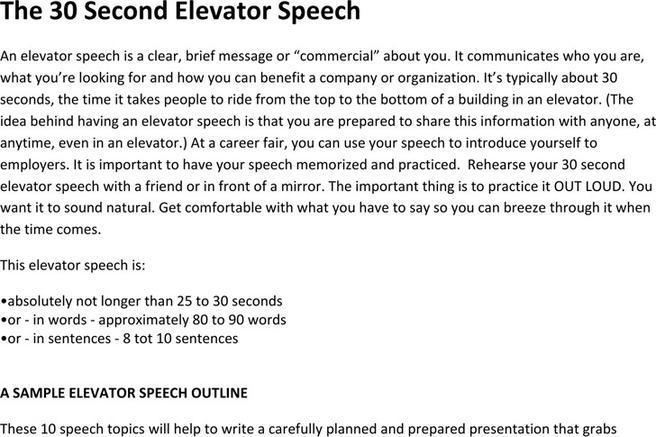 My resume elevator speech Custom paper Academic Service