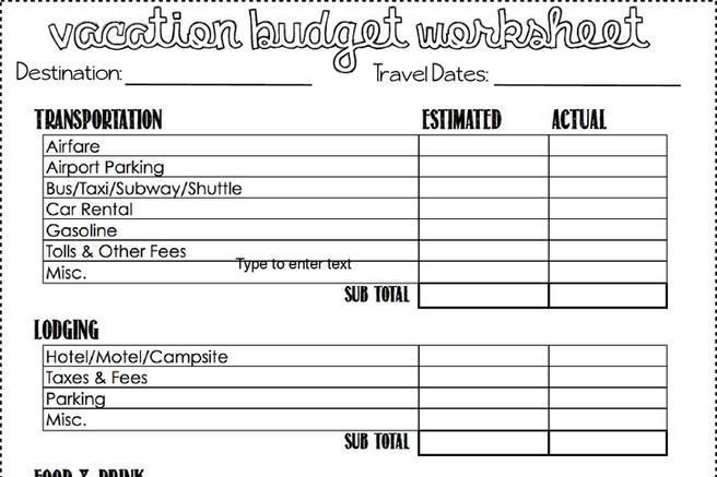 Download Vacation Budget Template for Free - TidyTemplates