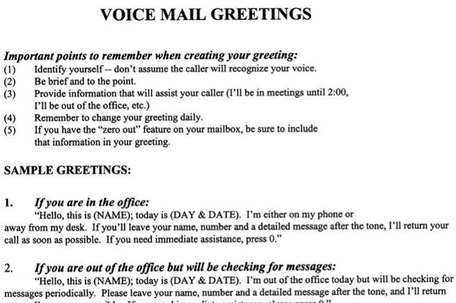 voice mail messages template