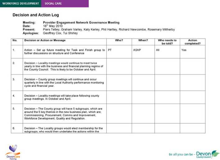Download Action Decision Log Template for Free - TidyTemplates