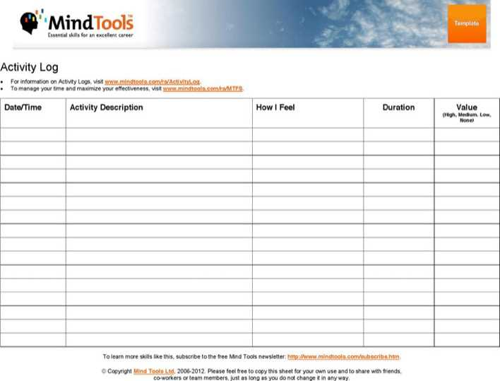 Download Activity Log Template for Free - TidyTemplates