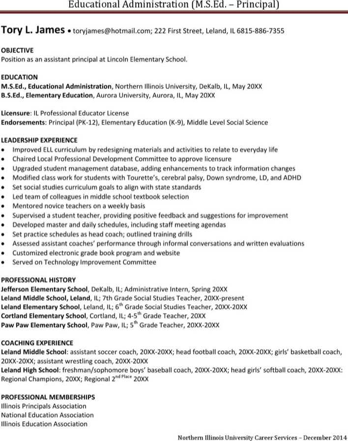 Download Assistant Principal Resume for Free - TidyTemplates