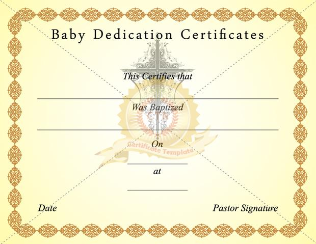 Download Baby Dedication Certificate Template Free for Free