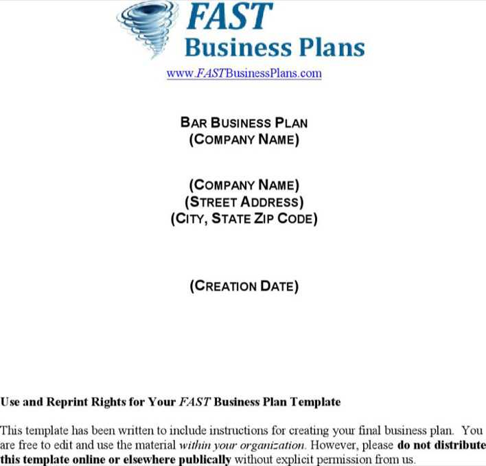 Download Bar Business Plan for Free - TidyTemplates