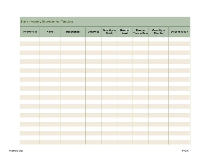 Download Blank Inventory Spreadsheet Template Free Download for Free