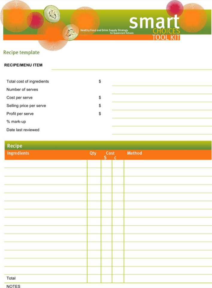 Download Blank Recipe Template For Word for Free - TidyTemplates
