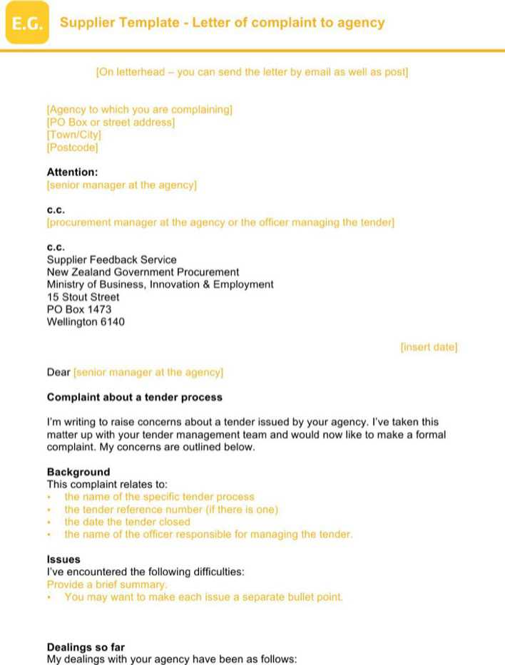 Download Business Complaint Letter for Free - TidyTemplates