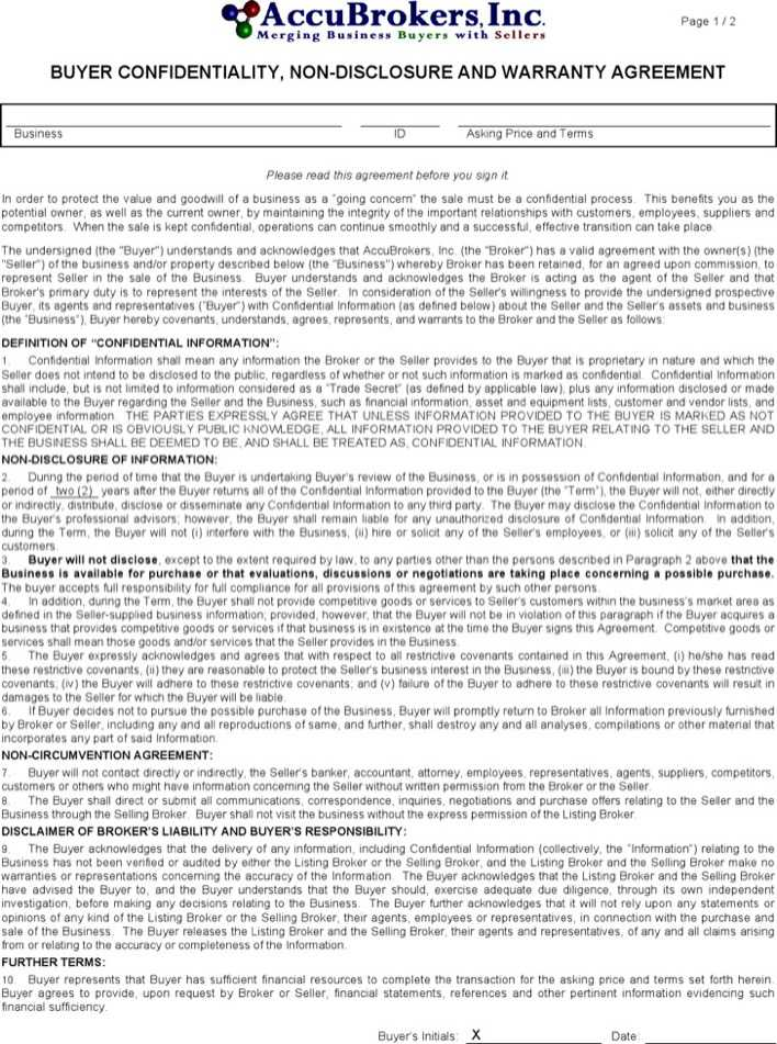 Download Buyers\u0027 Vendor Confidentiality Agreement Sample for Free