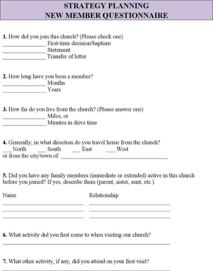 Download Church Survey Questionnaire Template Pdf for Free