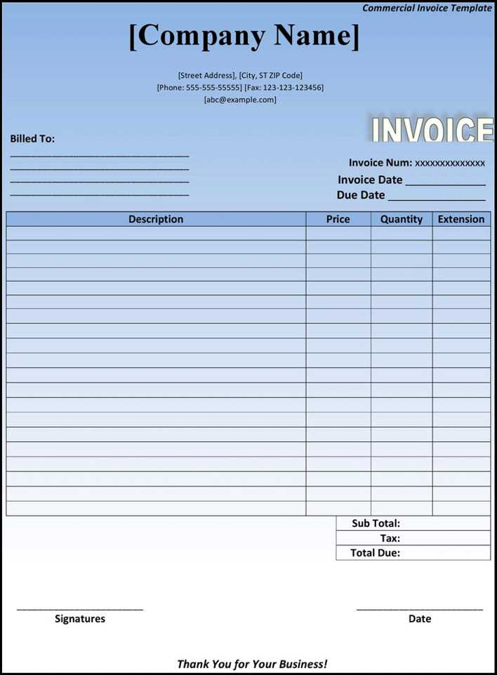Download Blank Commercial Invoice Form for Free - TidyTemplates