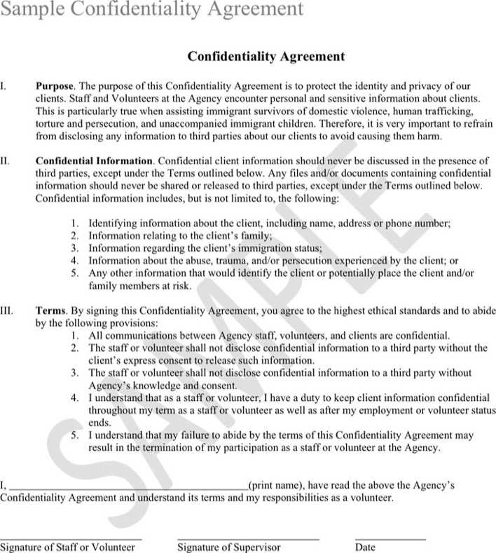 Download Confidentiality Agreement Sample 2 for Free - TidyTemplates