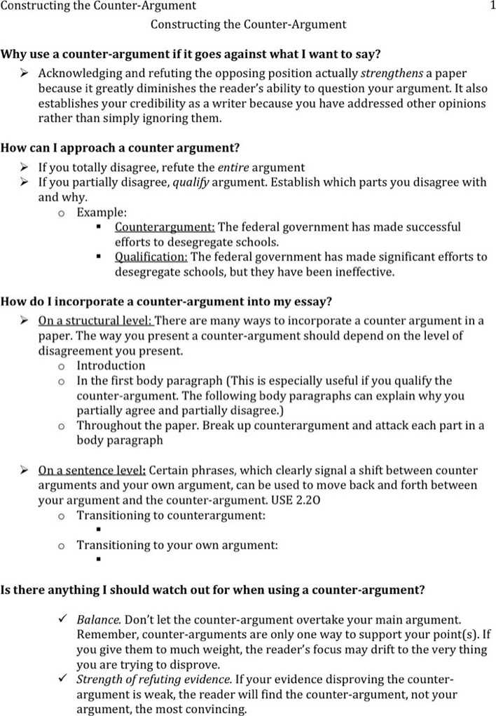 Download Counter Argument Example 3 for Free - TidyTemplates