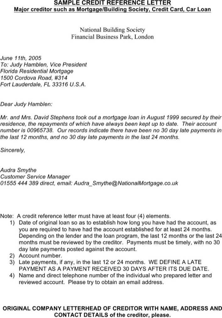 Download Credit Reference Letter For Mortgage for Free - TidyTemplates