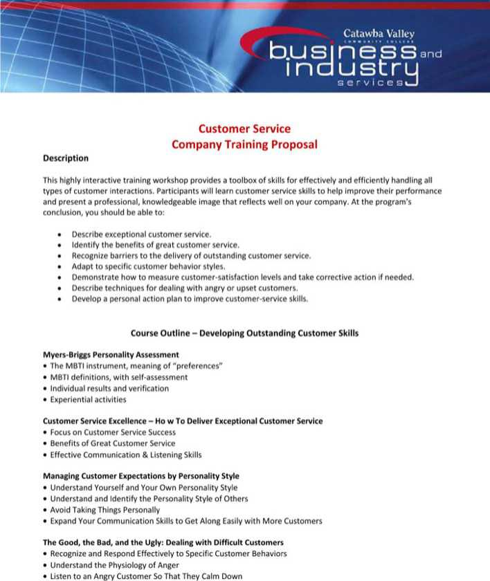 Download Customer Service Company Training Proposal Template for