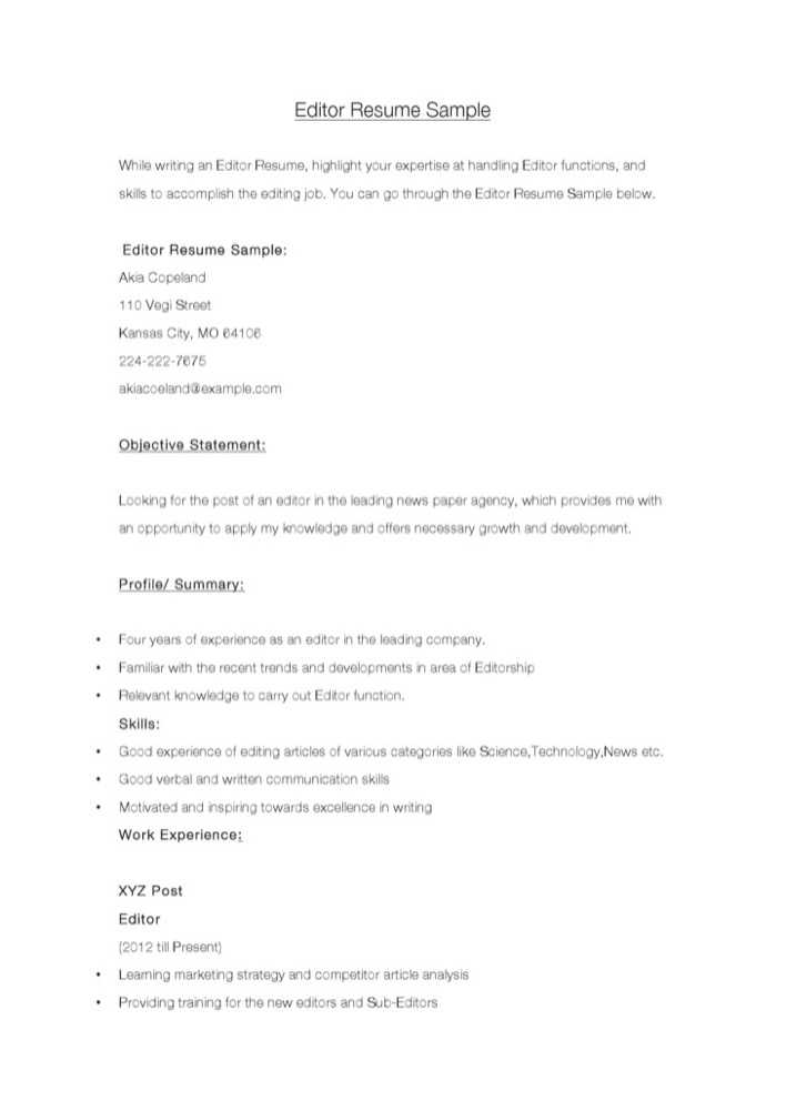 sample resume for sub editors