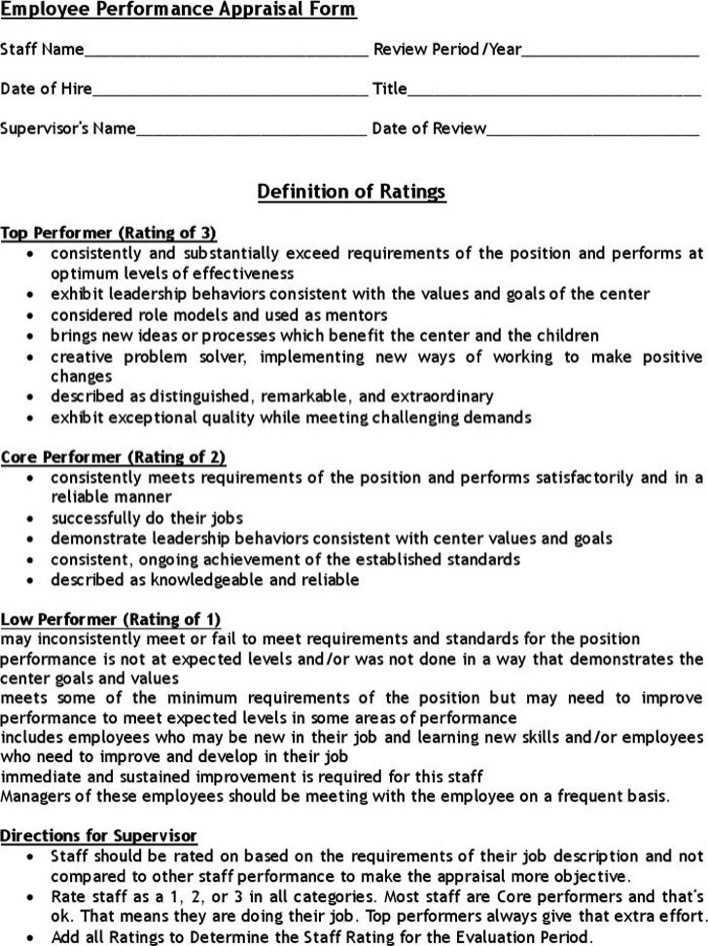 staff performance evaluation form - Pinarkubkireklamowe