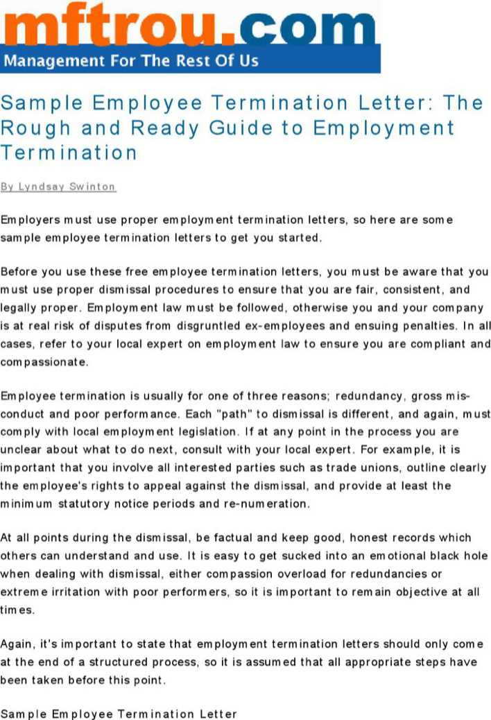 Download Employee Termination Letter for Free - TidyTemplates