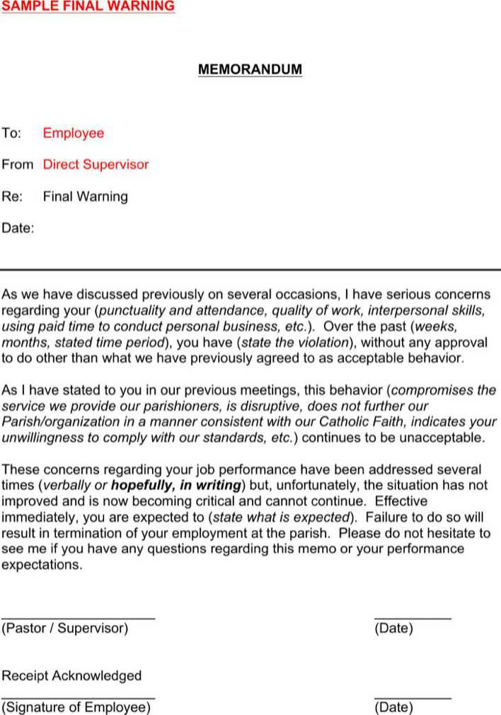 Download Employee Warning Memo Template for Free - TidyTemplates