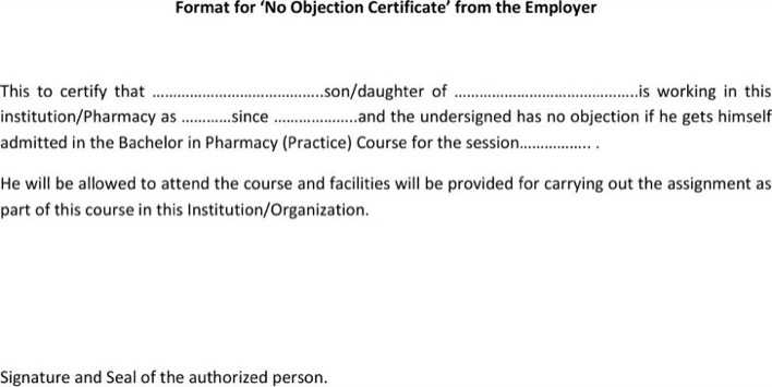 Download Employer No Objection Certificate for Free - TidyTemplates