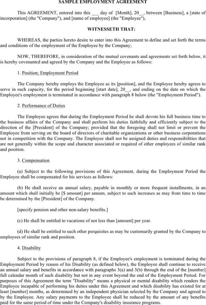 Download Employment Agreement Sample 3 for Free - TidyTemplates