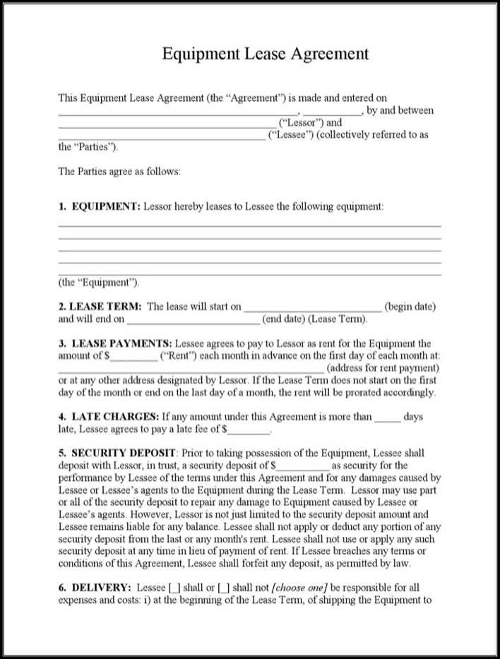 Download Equipment Lease Agreement Template for Free - TidyTemplates