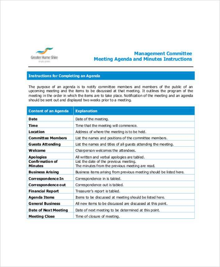 Download Example Management Committee Meeting Agenda for Free