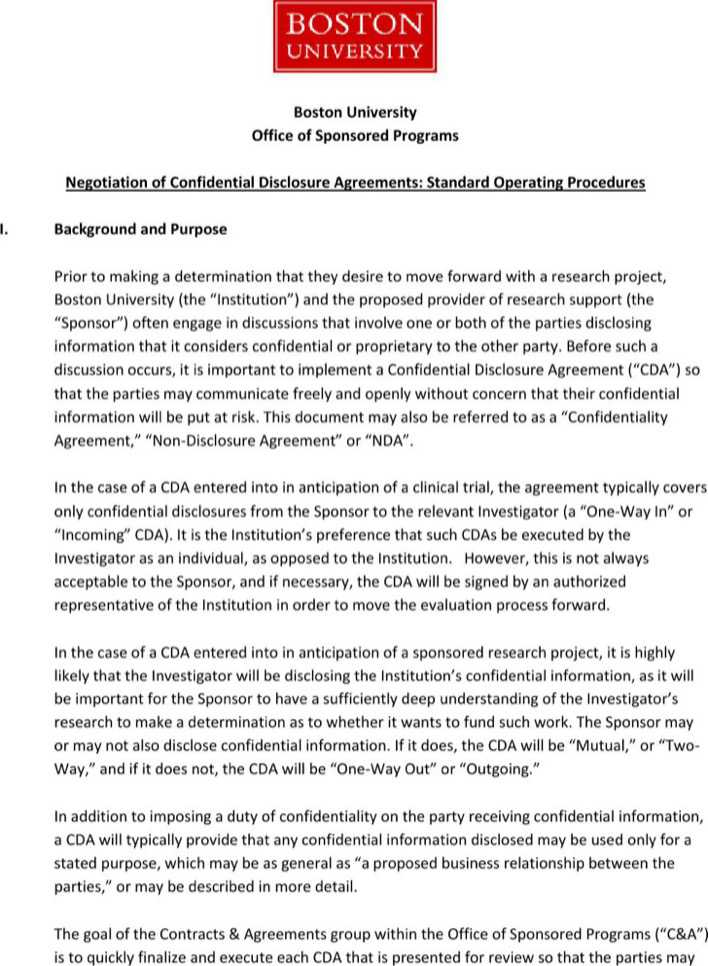 Download Example Negotiation Of Confidential Disclosure Agreement