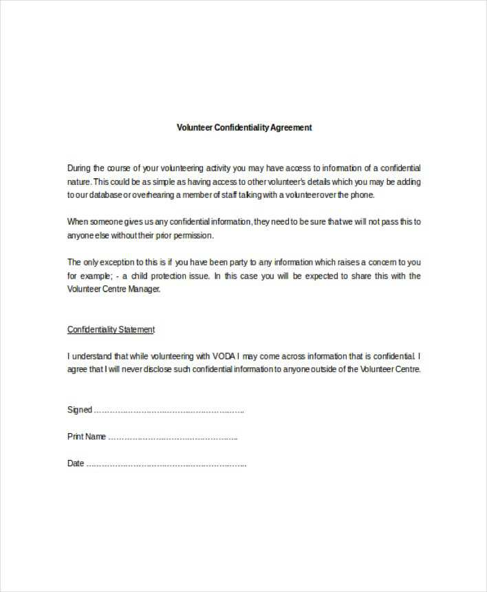 Download Example Standard Volunteer Confidentiality Agreement for