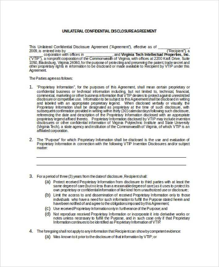 Download Example Unilateral Mutual Confidentiality Agreement for