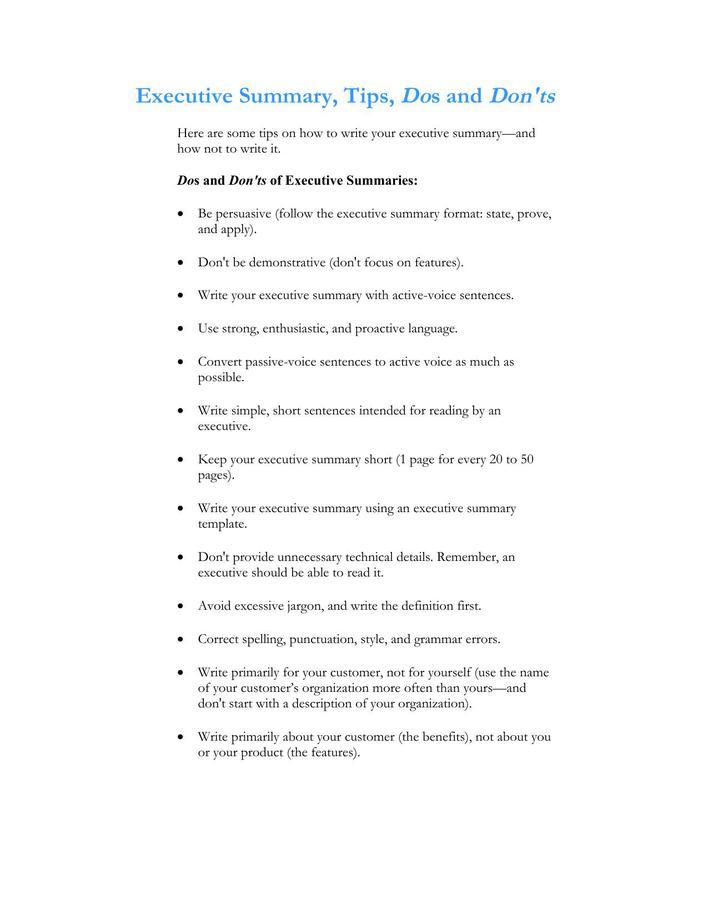 1 page executive summary template - Pinarkubkireklamowe