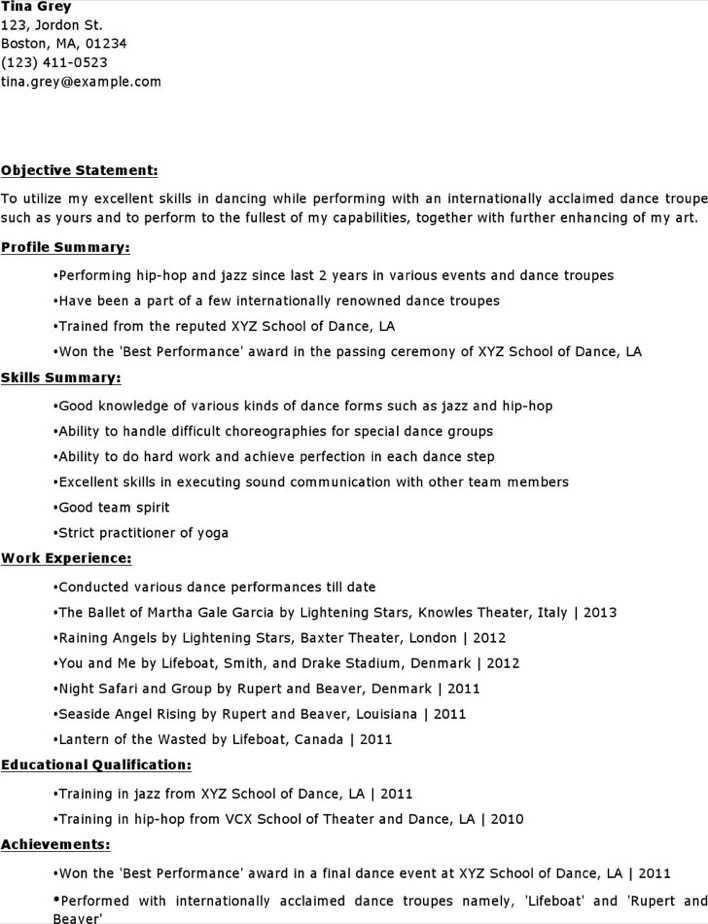Download Experinced Level Dancer Resume Template for Free