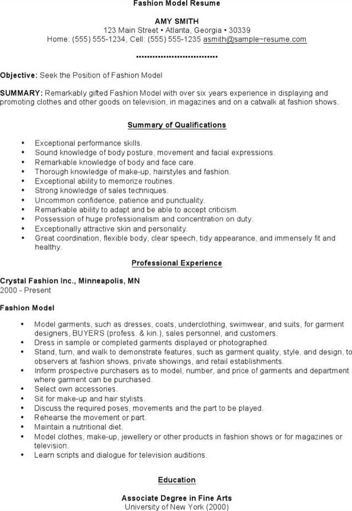 Download Fashion Model Resume for Free - TidyTemplates
