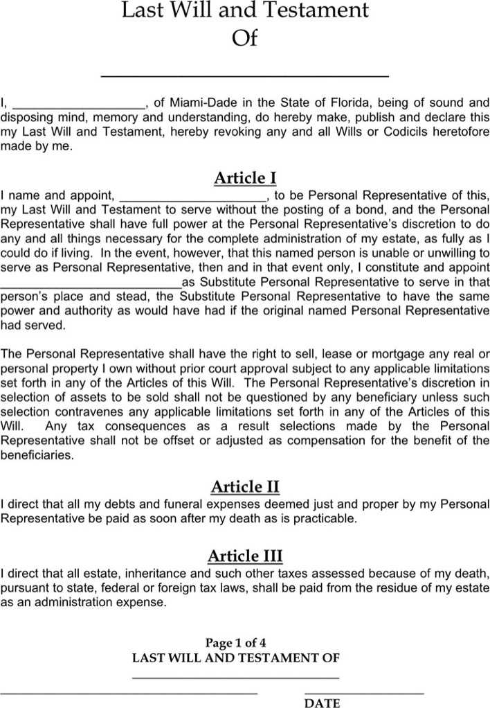 Download Florida Last Will And Testament Form for Free - TidyTemplates