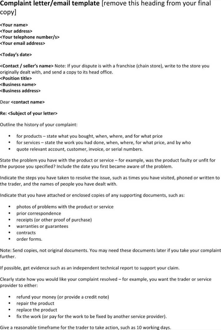 Download Formal Complaint Letter for Free - TidyTemplates