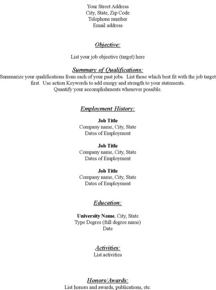 Download Free Blank Resume Template Functional Pdf Download for Free
