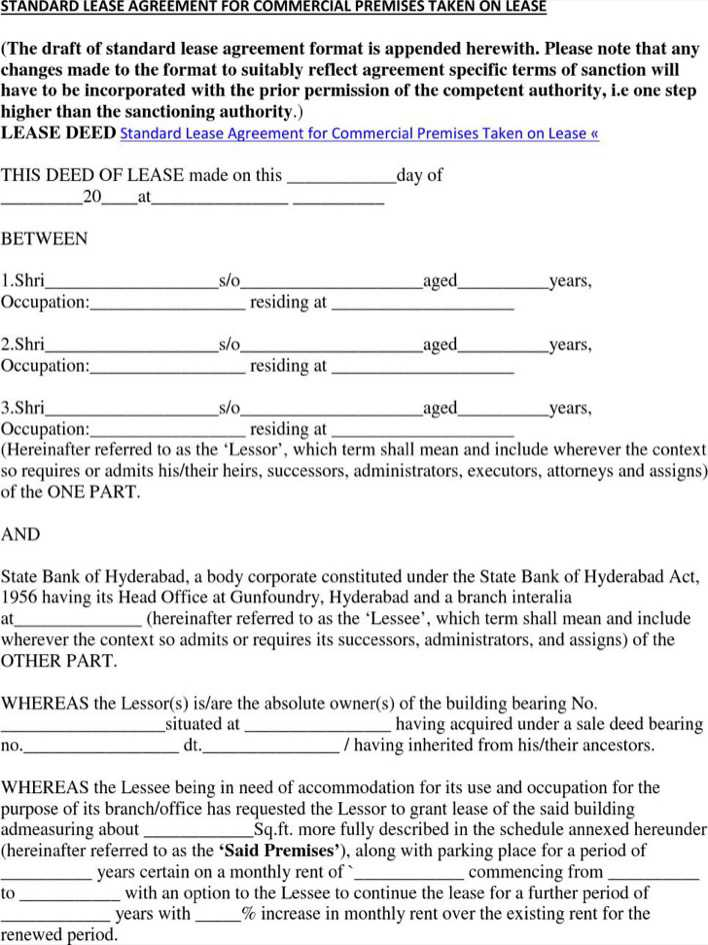 Download Free Download Standard Commercial Lease Agreement for Free