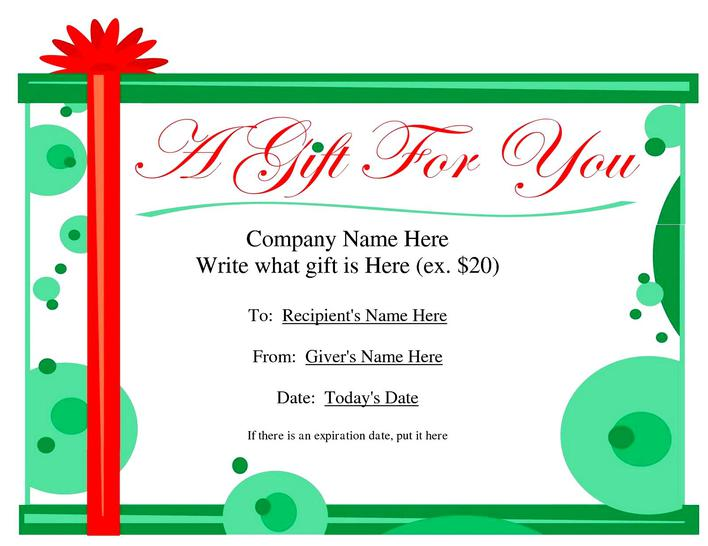 Download Free Printable Business Gift Certificate Word Template for