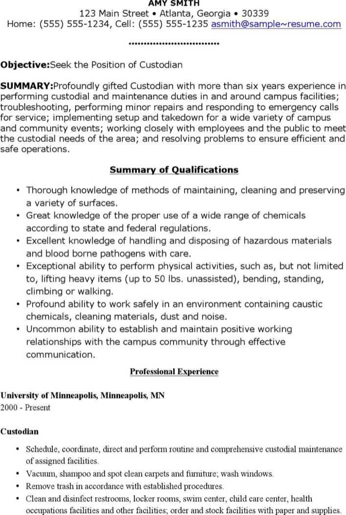 Download Free Sample Custodian Resume for Free - TidyTemplates