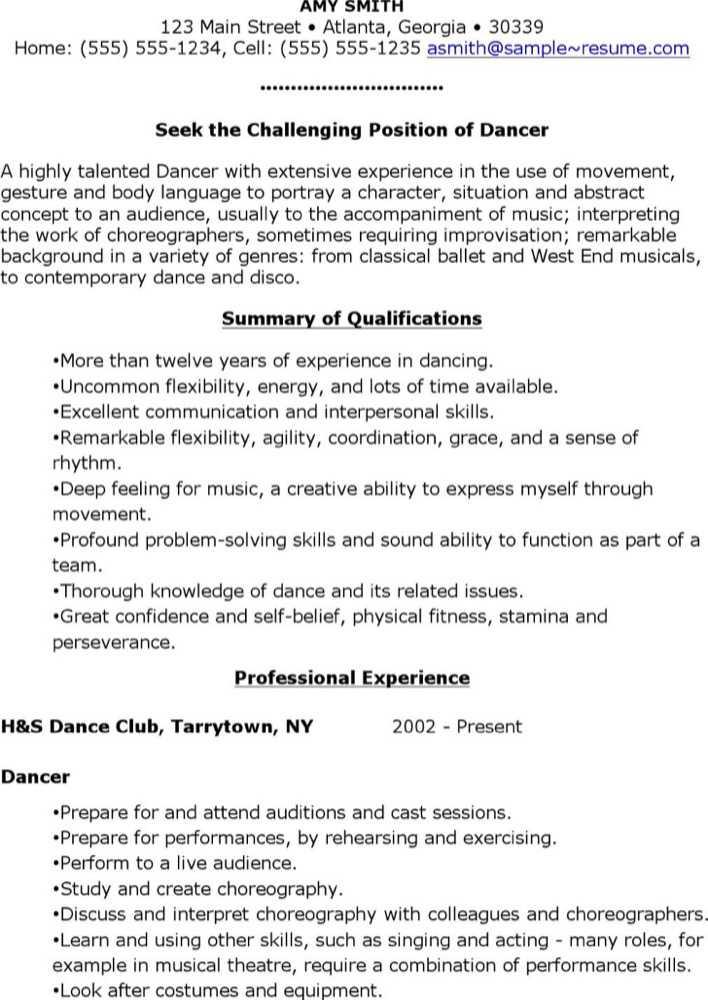 Download Free Sample Dancer Resume for Free - TidyTemplates
