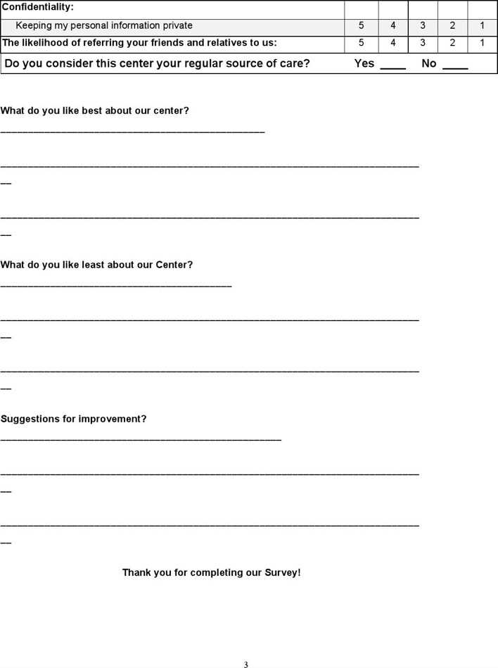 Download Free Sample Patient Satisfaction Survey Download for Free