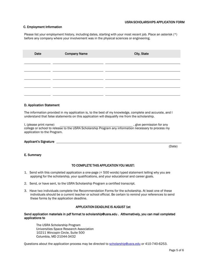 Download Free Sample University Scholarship Application Form