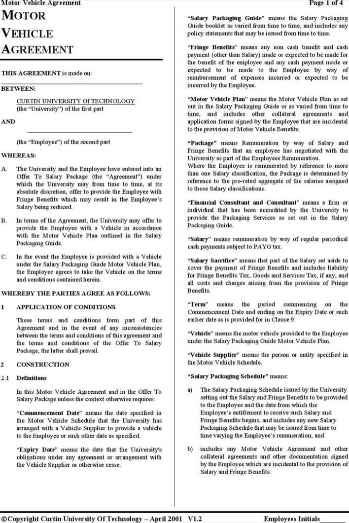 Download Free Vehicle Lease Agreement Template for Free - TidyTemplates
