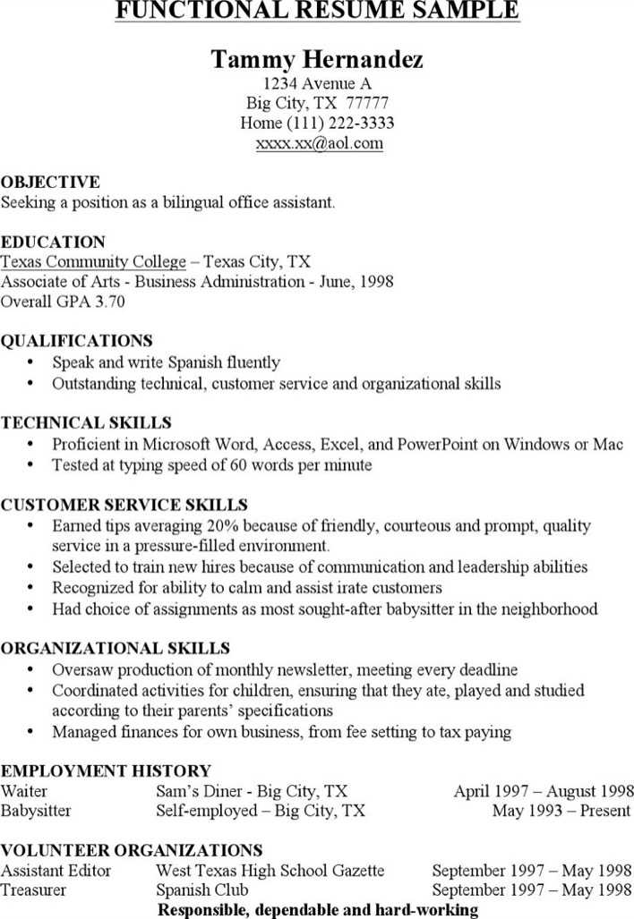 Download Functional Resume Sample for Free - TidyTemplates
