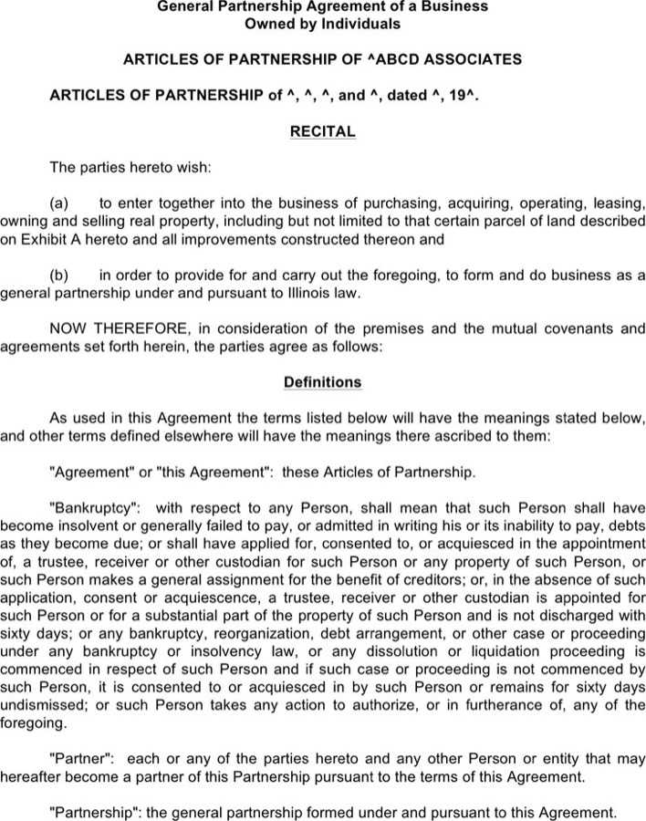 Download General Partnership Agreement of A Business for Free