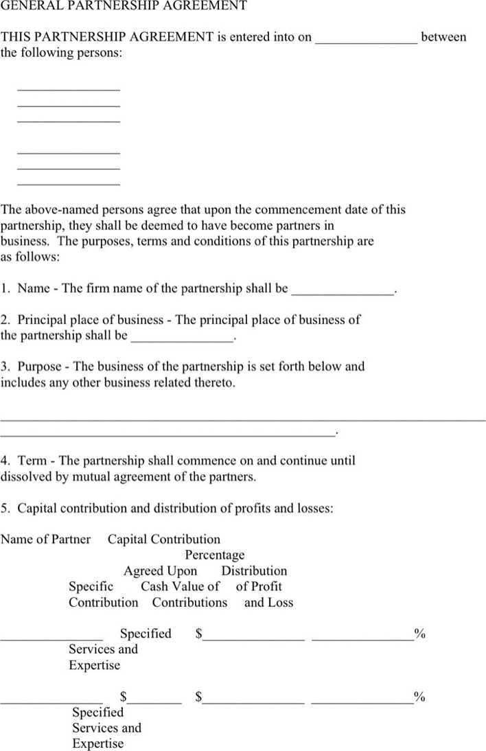 Download General Partnership Agreement Template for Free - TidyTemplates