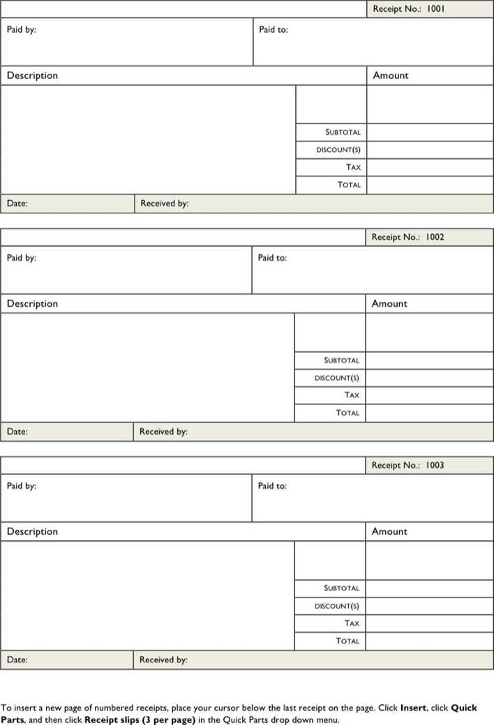 Download Free Printable Receipt Forms for Free - TidyTemplates