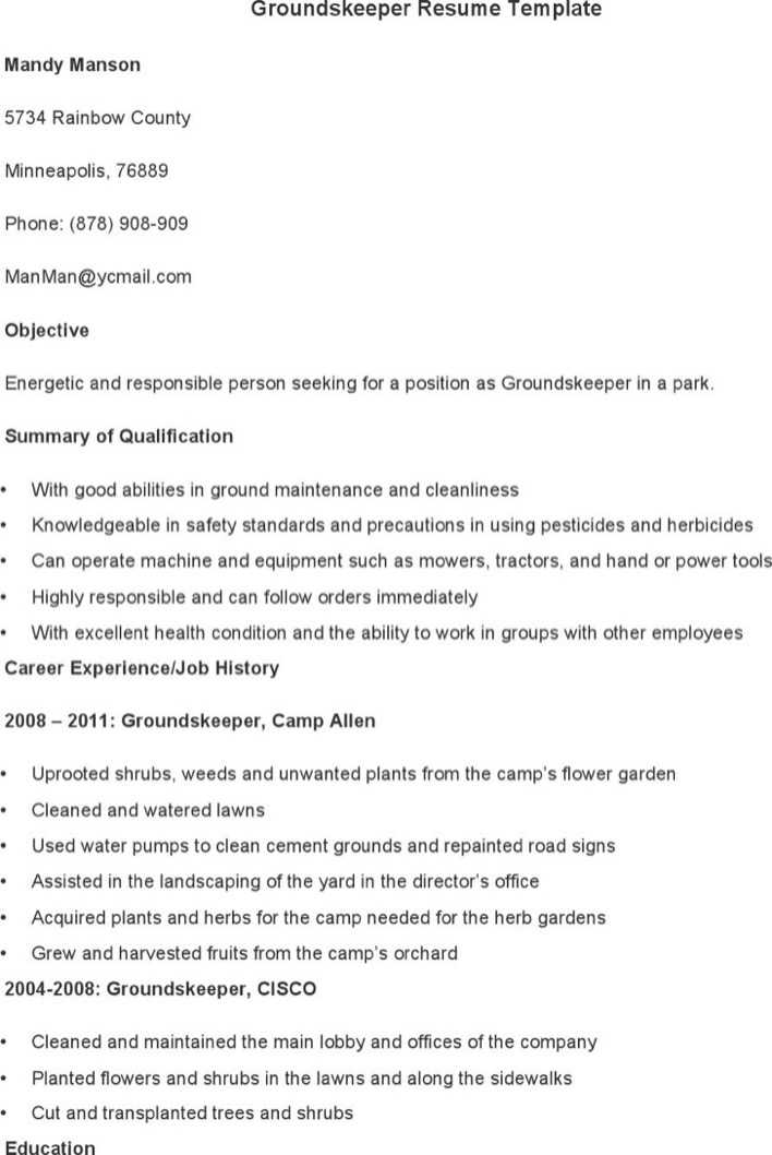 Download Groundskeeper Resume Template for Free Page 2 - TidyTemplates