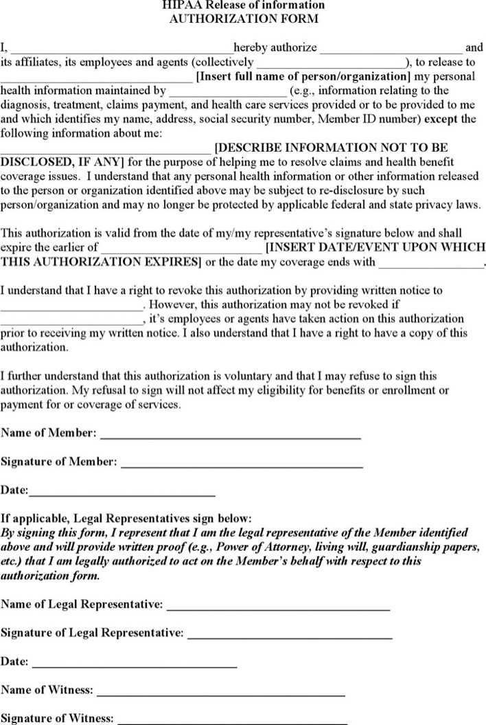 Download HIPAA Release Form for Free - TidyTemplates