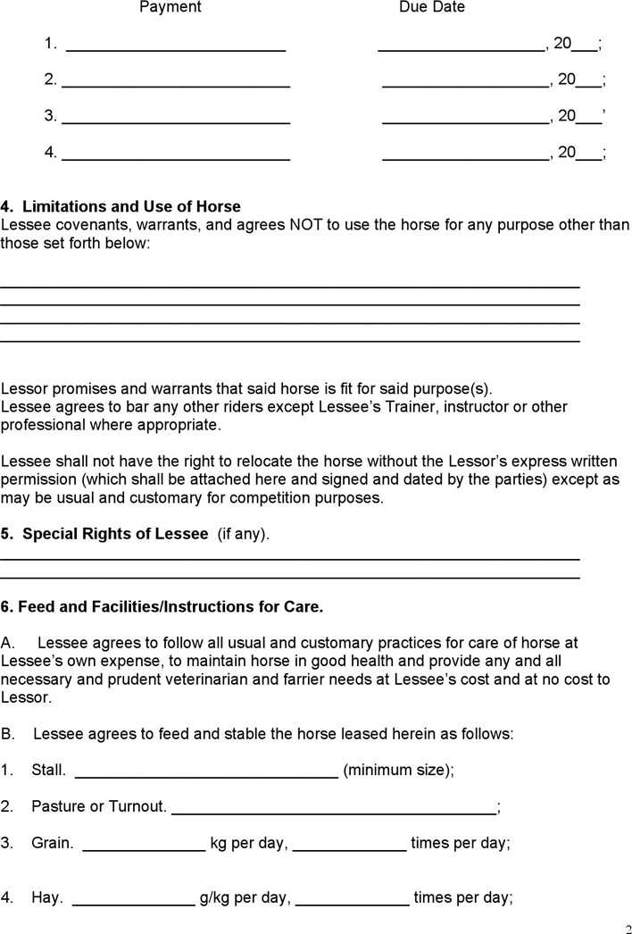 Download Equine Lease Agreement for Free Page 2 - TidyTemplates
