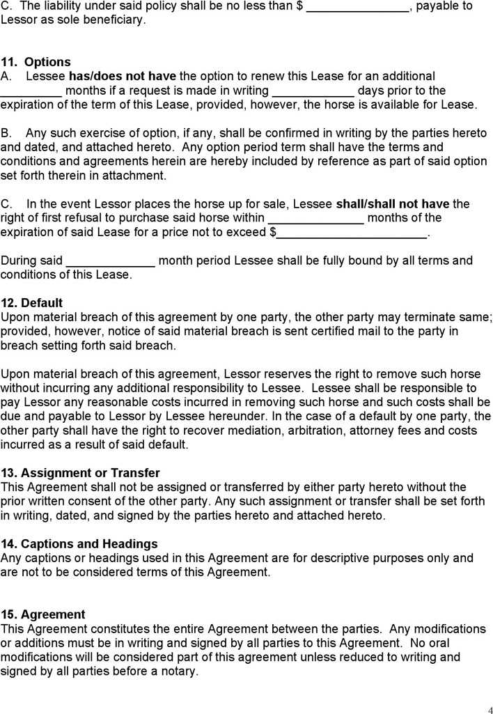 Download Equine Lease Agreement for Free Page 4 - TidyTemplates